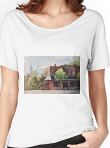Plein air painting of Cary, North Carolina (USA) Women's Relaxed Fit T-Shirt
