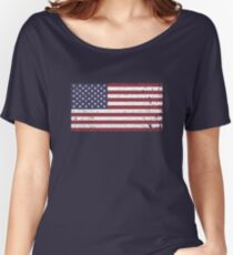 Vintage Look Stars and Stripes American Flag Women's Relaxed Fit T-Shirt