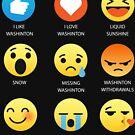 I Like I Love Washington State Fifty Nifty Emoji Emoticon Graphic Tee by DesIndie