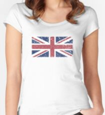 Vintage look Union Jack Flag of Great Britain Women's Fitted Scoop T-Shirt
