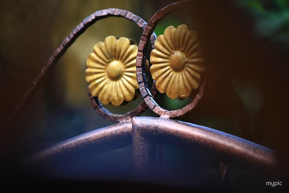 Metal bloom; detail on gate, Bali by mypic