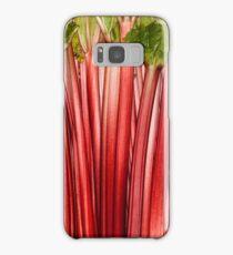 Rhubarb full rose red background. Rheum. Macro Samsung Galaxy Case/Skin
