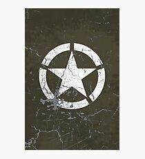 Vintage Look US Army White Star Emblem Photographic Print