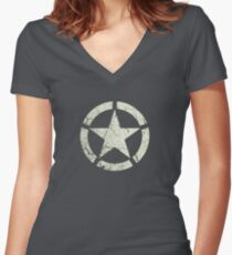 Vintage Look US Army White Star Emblem Women's Fitted V-Neck T-Shirt