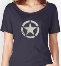 Vintage Look US Army White Star Emblem Women's Relaxed Fit T-Shirt