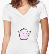 tea pot cartoon  Women's Fitted V-Neck T-Shirt
