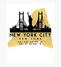 NEW YORK CITY NEW YORK SILHOUETTE SKYLINE MAP ART  Photographic Print