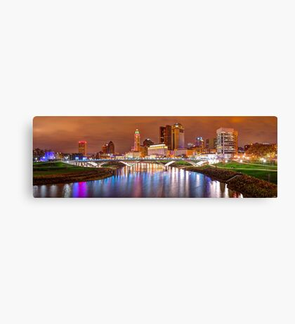 Downtown Columbus Ohio Skyline Panorama at Night Canvas Print