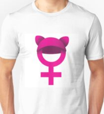 Female symbol wearing pink pussy hat. Unisex T-Shirt