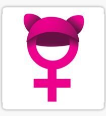 Female symbol wearing pink pussy hat. Sticker