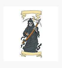 Grim Reaper Scythe Scroll Drawing Photographic Print