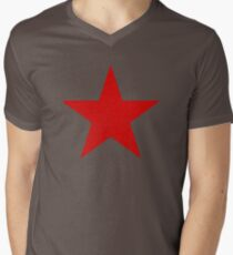Vintage Look Russian Red Star Mens V-Neck T-Shirt