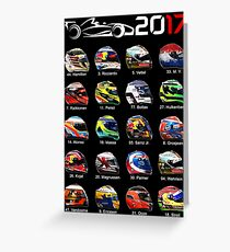 Formula 1 2017 drivers helmets all Greeting Card