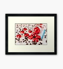 Red hearts in a glass jar and coffee beans Framed Print