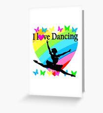 PRETTY RAINBOW HEART I LOVE BALLET DESIGN Greeting Card