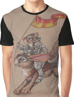 Squirrel in Shining Armor with trusted Bunny Steed  Graphic T-Shirt