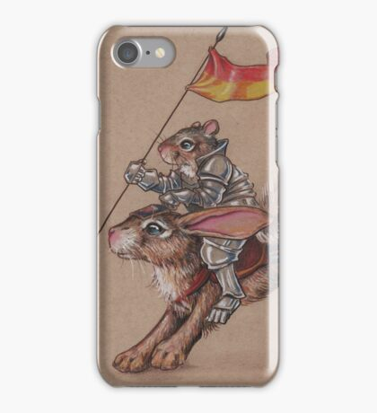 Squirrel in Shining Armor with trusted Bunny Steed  iPhone Case/Skin