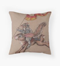Squirrel in Shining Armor with trusted Bunny Steed  Throw Pillow