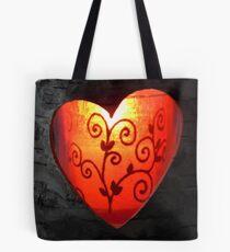 Burning heart of love Tote Bag