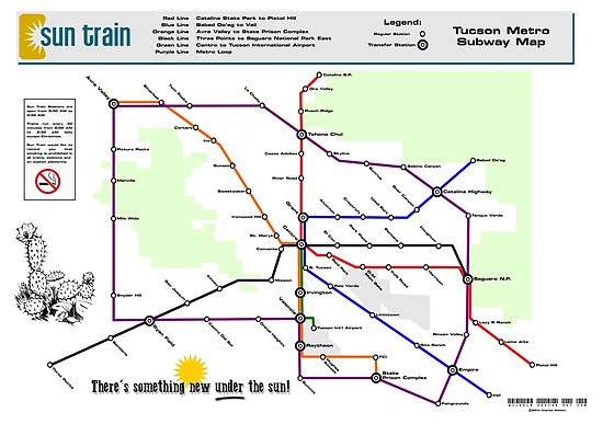 Sun Train Tucson Metro Subway Map Posters By Jcharlesw Redbubble