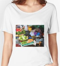 market scene in Hong Kong lady selling fruit and vegetables Women's Relaxed Fit T-Shirt