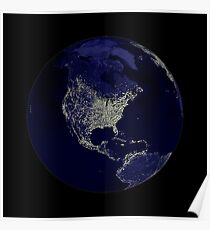 Earth Globe Lights Poster