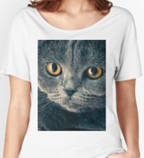 cat, feline, grey, pet, yellow, eyes, cute, adorable, animal, fbmovercrafts Women's Relaxed Fit T-Shirt
