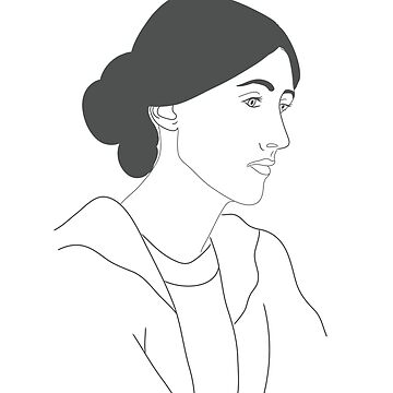 Virginia Woolf in White and Grey Drawing  by robinmcgill