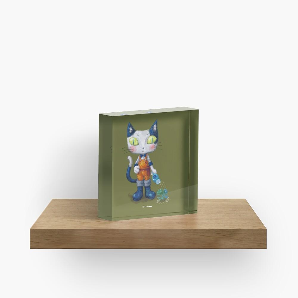 Cat Man - Gardening Sunshine Boy 2 Acrylic Block