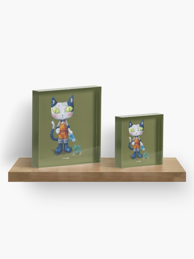 Alternate view of Cat Man - Gardening Sunshine Boy 2 Acrylic Block