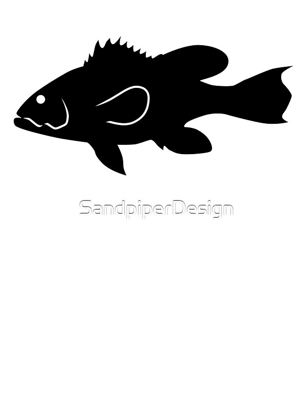 Black Sea Bass Fish Silhouette Black Stickers by