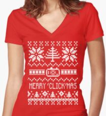Ugly Christmas Sweater - Camera / Merry 'Click'Mas Women's Fitted V-Neck T-Shirt