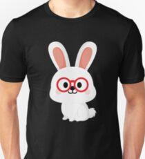 Bunny Rabbit Emoji Nerd Noob Glasses Unisex T-Shirt