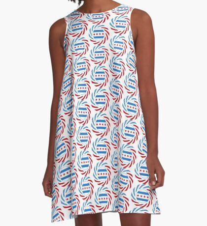 Chicago Murican Patriot Flag Series A-Line Dress