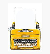 Yellow Typewriter  Vintage Portable Manual typewriter  with blank paper illustration Photographic Print