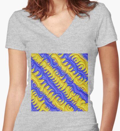 Frozen frequencies #DeepDream #Art Fitted V-Neck T-Shirt