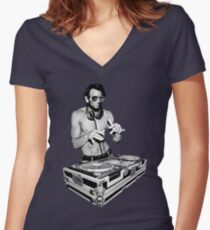 DJ Abraham Lincoln by Basement Mastermind Women's Fitted V-Neck T-Shirt
