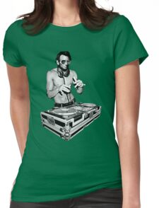 DJ Abraham Lincoln by Basement Mastermind Womens Fitted T-Shirt