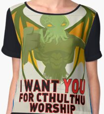 cthulthu monster parody poster of war recruitment  Chiffon Top