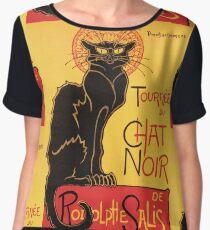 Le Chat Noir Vintage Poster Chiffon Top