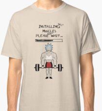 Camiseta clásica Rick y Morty. Instalando los músculos.