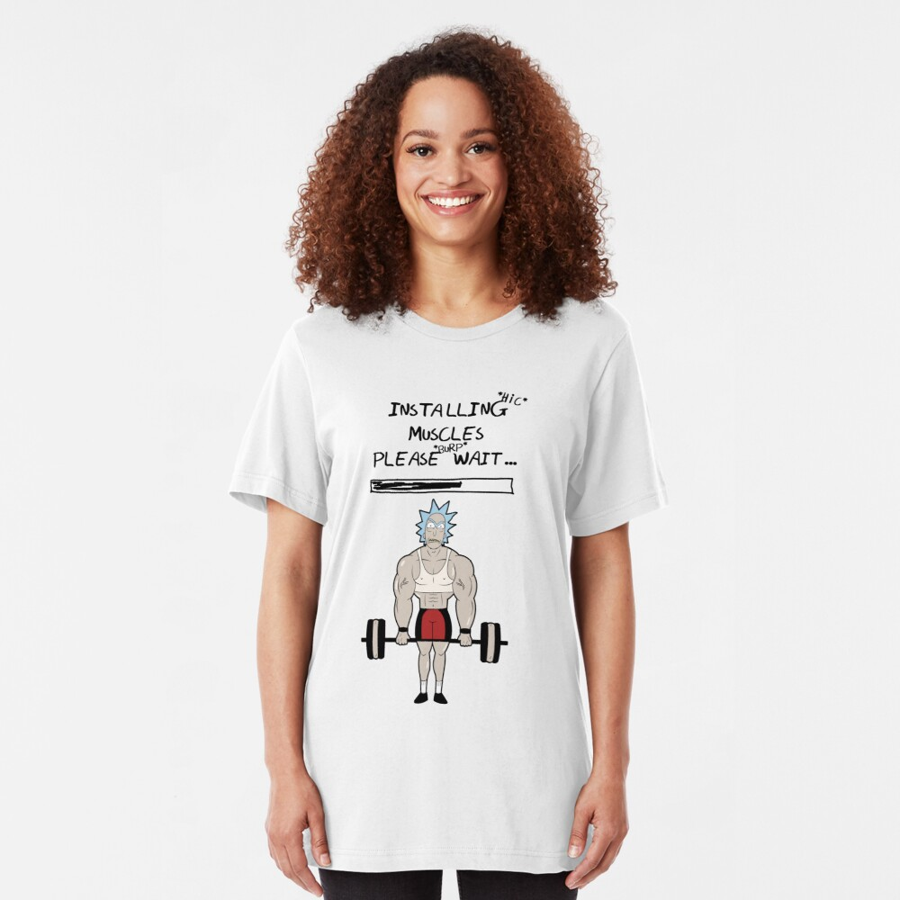 Rick and Morty. Installing muscles. Slim Fit T-Shirt
