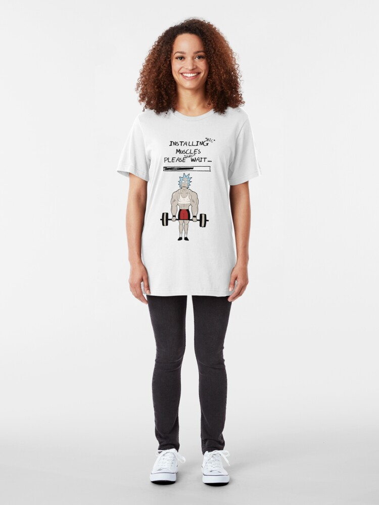 Alternate view of Rick and Morty. Installing muscles. Slim Fit T-Shirt