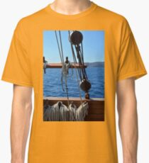 Details of an old ship at sea with rope. Classic T-Shirt