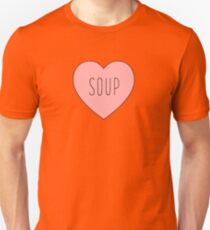 I Love Soup Heart | Food Hearts Pink Black Print Unisex T-Shirt