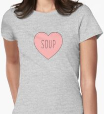 I Love Soup Heart | Food Hearts Pink Black Print Womens Fitted T-Shirt