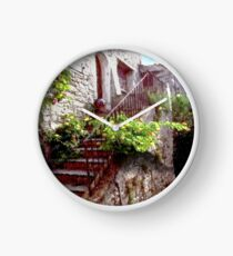 Provence,stair with flowers. Clock