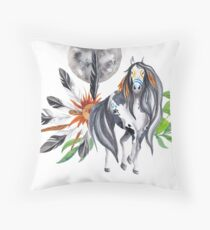 Native American Horse Feathers Collage Throw Pillow