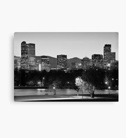 Denver Colorado Skyline in Black and White Canvas Print