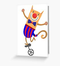 Clown cat on a unicycle Greeting Card